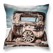 Old Car In The Snow Throw Pillow