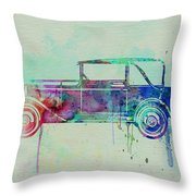 Old Car Watercolor Throw Pillow