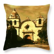 Old Carmel Mission - Watercolor Throw Pillow