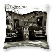 Old Cars On Route 66 Throw Pillow