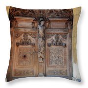 Old Carved Church Door Throw Pillow