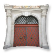 Old Carved Red  Door Throw Pillow