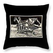 Old Case Thresher - Black And White Throw Pillow