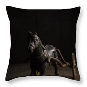 Old Cast Iron Toy Horse Throw Pillow