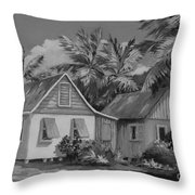 Old Cayman Cottages Monochrome Throw Pillow