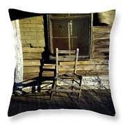 Old Chair On Old Porch Throw Pillow