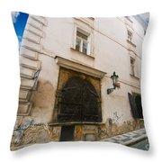 Old Charming Street In Prague Throw Pillow