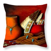 Old Cherokee Moccasins Throw Pillow