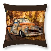 Old Chevy Rust Throw Pillow