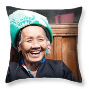 Old Chinese Zhuang Minority  Lady Smiling China Throw Pillow