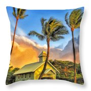 Old Church At Honokawai Maui Throw Pillow