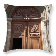 Old Church Door Cathedral Autun Throw Pillow