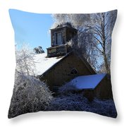Old Church In Ice Throw Pillow