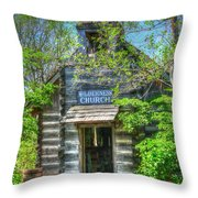 Old Church In The Woods Throw Pillow