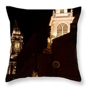 Old City Hall And Custom House Tower Throw Pillow