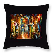 Old City Street - Palette Knife Oil Painting On Canvas By Leonid Afremov Throw Pillow