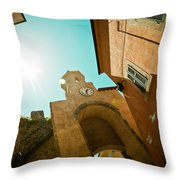 Old Clock On The Tower And Sun Throw Pillow