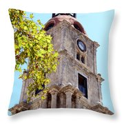 Old Clock Tower In Rhodes City Greece Throw Pillow