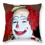 Old Clown Backstage Throw Pillow