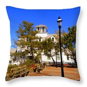 Old Coast Guard Life Boat Station Throw Pillow