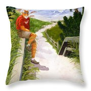 Old Codger On Beach Throw Pillow