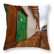 Old Colonial Street Corner Throw Pillow