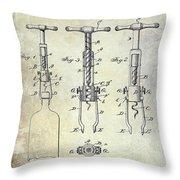 Corkscrew Patent Throw Pillow