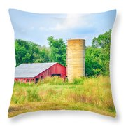 Old Country Farm And Barn Throw Pillow