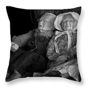 Old Couple Mannequins In Shop Window Display Throw Pillow