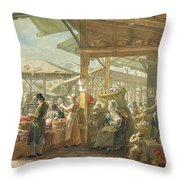 Old Covent Garden Market Throw Pillow by George the Elder Scharf