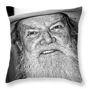 Old Cowboy In Black And White Throw Pillow