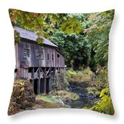 Old Creek Grist Mill In Autumn Throw Pillow