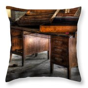 Old Desk In The Attic Throw Pillow