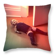 Old Doll On Floor Throw Pillow