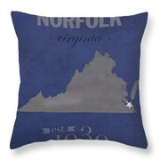 Old Dominion University Monarchs Norfolk Virginia College Town State Map Poster Series No 085 Throw Pillow