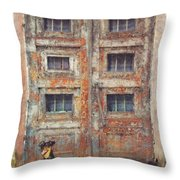Old Door - Aged - Cracked - Abandoned Throw Pillow