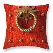 Old Door Knocker Throw Pillow