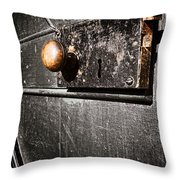 Old Door Lock Throw Pillow by Olivier Le Queinec