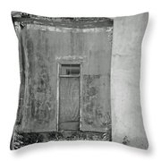 Old Doorway Bw Throw Pillow