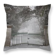 Old Driveway Gate In Winter Throw Pillow