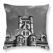 Old Dupage County Courthouse Flag Black And White Throw Pillow