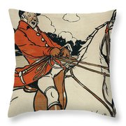 Old English Sports And Games Hunting Throw Pillow
