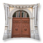 Old Entrance Door With Lionheads Throw Pillow