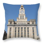 Old European Building On The Bund In Shanghai China Throw Pillow