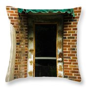 Old Factory Entrance Throw Pillow