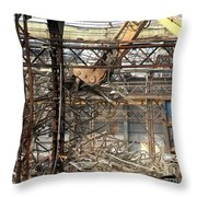 Old Factory Is Being Demolished Throw Pillow