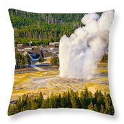 Old Faithful From Observation Point Throw Pillow