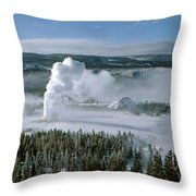 3m09132-01-old Faithful Geyser In Winter Throw Pillow