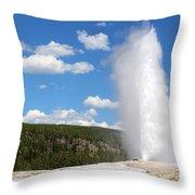 Old Faithful Geyser In Yellowstone National Park  Throw Pillow