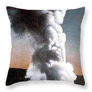 Old Faithful Geyser Yellowstone Np Throw Pillow